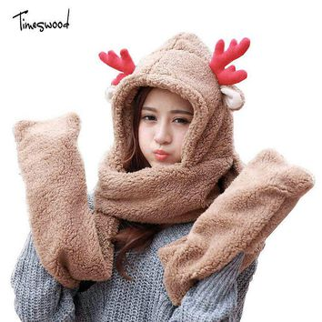 Woman Winter Hat Scarf and Gloves Sets Antlers Deer Ear Cap Cotton Fashion Scarf Gloves Set Solid Hats And Scarf Set For Women