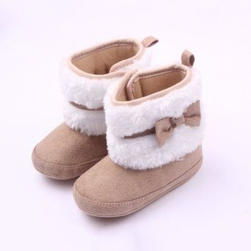 Baby Boots Winter Ankle Snow First Walkers Infant Shoes Khaki Antiskid Keep Warm Baby