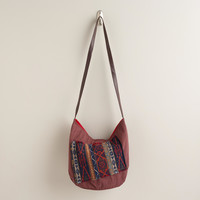 Brown Woven Cross-Body Bag - World Market