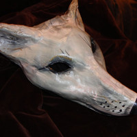Masquerade animal mask paper mache fox mask  Silver Fox