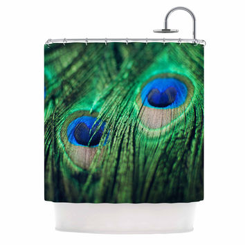"Chelsea Victoria ""Peacock Feathers"" Blue Green Shower Curtain"