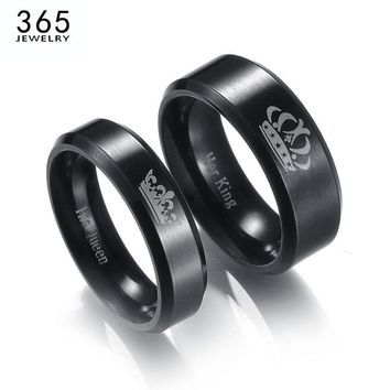 Cool New Stainless Steel King And Queen Couple Rings Black Color Letter Crown Rings For Lovers Love Promise JewelryAT_93_12