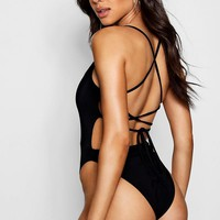 Ria Lace Up Back Detail Bodysuit | Boohoo