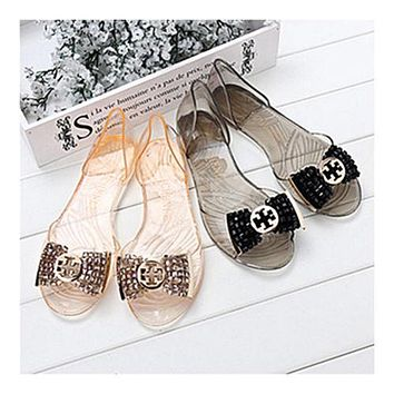 Beads Roman Flat Jelly Shoes Beach Peep-toe Sandals Summer