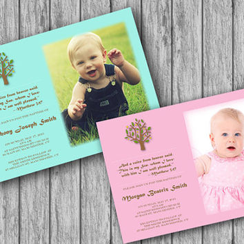 Baptism/Christening Invitation Photo, Girl/Boy Baptism Invitation, Religious Card (DIY, Digital,Printable file, download)
