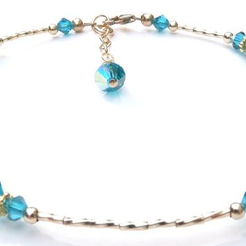 Handmade 14KGF Gold Beaded Ankle Bracelets  | Birthstone  Blue Zircon December