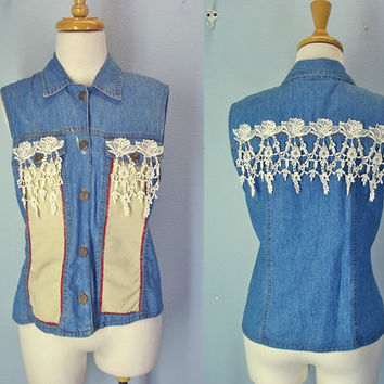 Vintage 80s Cottage Chic Denim Vest Sleeveless Boho Size Small