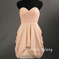Blush Pink Chiffon Ruffle Bridesmaid Dress Sweetheart Neck Strapless Knee Length Short Prom Dress