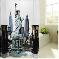 The Statue of Liberty Design PEVA Waterproof mildewroof Bathroom Fabric Shower Curtain Bath Curtain/Personalized Home Pattern Design Shower Curtain Waterproof Bathroom Fabric Shower Curtain (Size: 180cm by 180cm, Color: Multicolor)