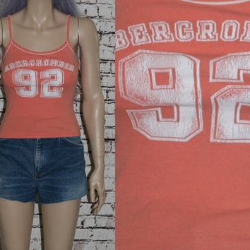 90s Crop Top Abercrombie and Fitch XS S Grunge Cyber Goth Club Kid Festival Hipster Cropped Shirt Tank Tshirt coral peach white Americana