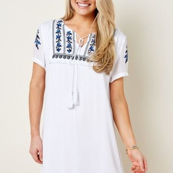 Find Your Escape White Embroidered Dress