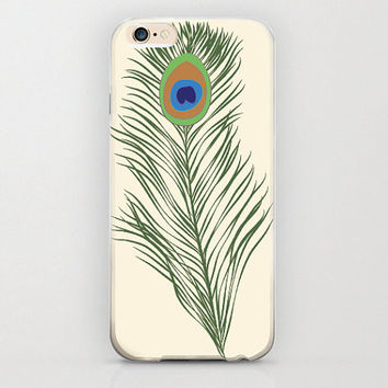 "Peacock Feather iPhone 6 Case Peacock Animal Feathers Beige Cream iPhone 6 Case Unique Hippie Custom iPhone 6 4.7"" Covers and Cell Phone"