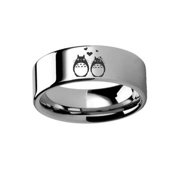 Studio Ghibli Totoro Couple in Love Hearts Tungsten Ring