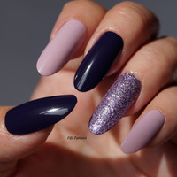 Glitter Purple Oval nails, Nail Art, Nail Designs, Nails, Oval nails, Pointy nails, Fake nails