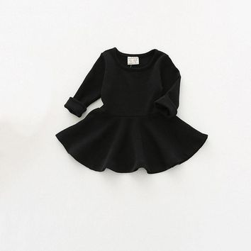 Kids Girls Clothes Baby Dress Cotton Black Warm Ruffled Long Sleeved Dresses Toddler Clothing
