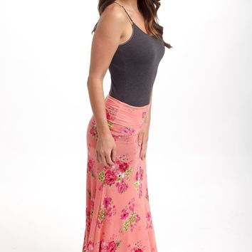 Coral Floral Printed Maxi Skirt