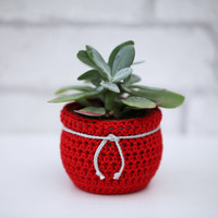 Flower Pot Cozy, Crochet Ornament, Christmas Planter, Succulent Plant Cozy Decorative Container Fabric Home Decor Red and light Gray Planter