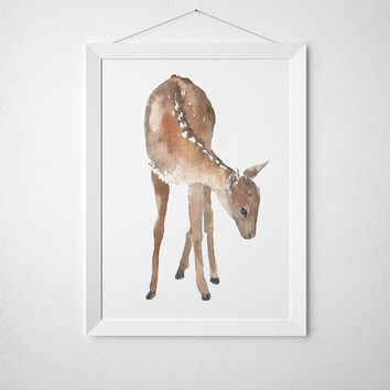 Baby deer poster Nursery decor Watercolor print ACW4