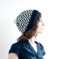 Black & White - Knitted Hat - Chevron - Knit Hat with Pom Pom