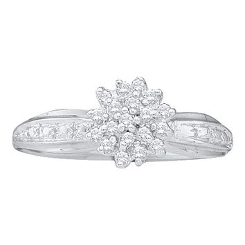 10kt White Gold Womens Round Diamond Cluster Ring 1/10 Cttw - FREE Shipping (US/CAN)