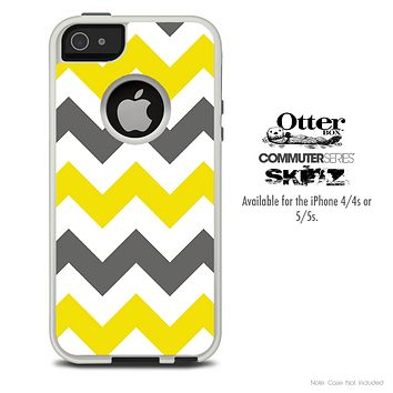 The Gray & Yellow Skin For The iPhone 4-4s or 5-5s Otterbox Commuter Case