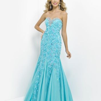 Blush by Alexia Designs - Embroided Floral Strapless Mermaid Gown 9582