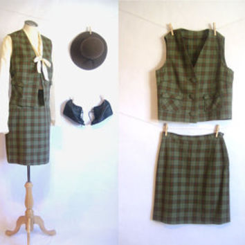 vintage SALE / 60s Skirt and Vest / Plaid Mod Outfit / Wool Two Piece / Pencil Skirt / Cropped Vest