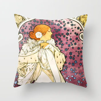 Alfons Mucha The lady of the camellias Throw Pillow by Jbjart | Society6