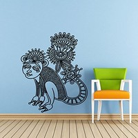 Monkey Wall Decal Lotus Flower Animals Yoga Ethnic Geometric Ornament Pattern Wall Vinyl Sticker Home Interior Wall Decor for Any Room Housewares Mural Design Graphic Bedroom Wall Decal (6101)