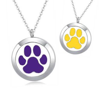 Paw Print Essential Oil Diffuser Necklace (perfect for LSU Tigers fans)