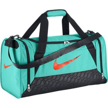 New Nike Brasilia 6 Small Duffel Bag Bleached Turquoise/Bleached Turquoise/Hyper Crimson