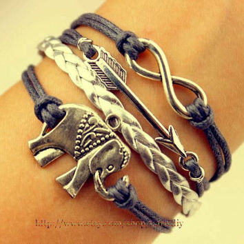 Infinite arrow and elephant karma bracelet - gray wax rope bracelet - charm bracelet