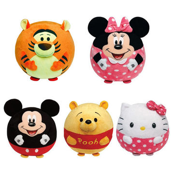 Baby Cartoon Rattle Toys Animal Hand Bells Hello Kitty Minnie Plush Filled Sponge Ball Handbell High Quality Newborn Gift
