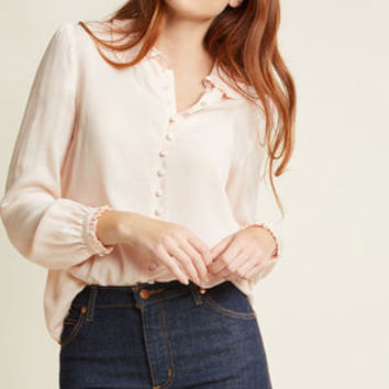 Ladylike Button-Up Top in Blush in 3X
