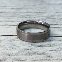 6MM REAL Titanium Matte Step Edge Promise Ring