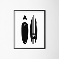 Chanel Print, Chanel Surfboards Poster, Chanel Art, Black And White, Chanel Wall Decor, Fashion Art, Fashion Poster, Room Decor, Surf