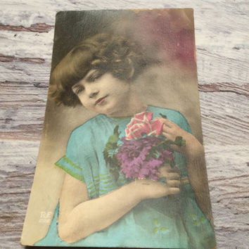 French Vintage Postcard of a Little Girl With Flowers . Vintage Postcard . Old Postcard . Hand Tinted .