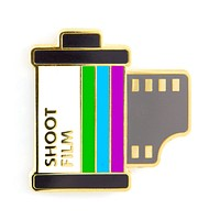 Shoot Film Enamel Pin with Gold Accents