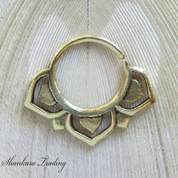 Septum Ring for Pierced Nose, Lotus Septum Ring, Tribal Septum Ring, Nose Jewelry, Brass Septum Ring, Pierced Septum, Indian Septum Ring