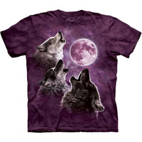 Three Wolf Moon In Purple Tie-Dye T-Shirt
