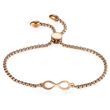 SHIPS FROM USA Hot Selling Cheap Fashion Infinity Stainless Steel Women Bracelet Eight Bangle For Girl Wedding Jewelry Accessories