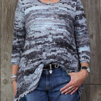 Cute Gray Blue Blouse L XL size Tye Die Watercolor Stretch Top Womens Easy Wear