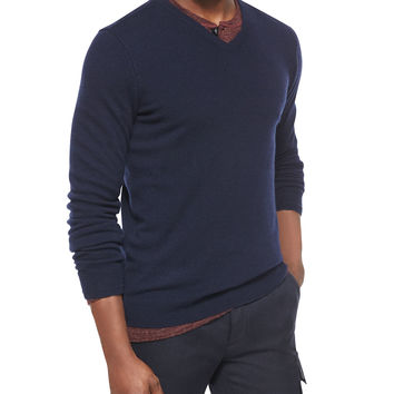 Cashmere V-Neck Sweater, Navy, Size: