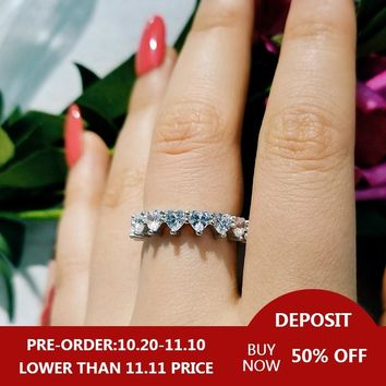 fashion heart zirconia 925 sterling silver Wedding band eternity ring for Women girl love lover christmas gift jewelry LR4578S