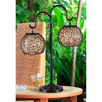 Shop Kenroy Home Castillo 27-in Steel Plug-in Incandescent Outdoor Table Lamp at Lowes.com