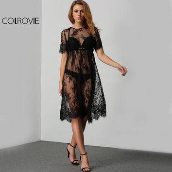 COLROVIE Sheer Lace Beach Dress Black Vintage Boho Women Sexy Midi Summer Dress Fashion Short Sleeve Cut Out Elegant Dress