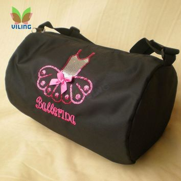 Black ballet dance bag Single shoulder Water-proof fabric bag for girls women dancer Embroidered Clutch for dance girl female
