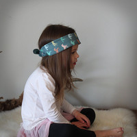 Bandana headband colorful horses . horse headband . little girl hair accessories . equestrian . hipster headband .