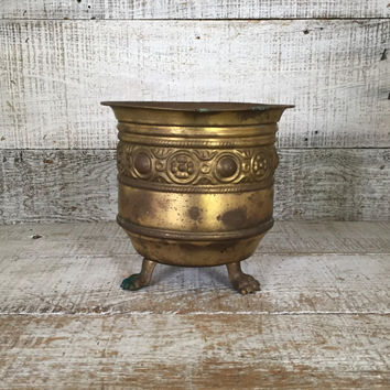 Brass Planter Vintage Brass Bowl Footed Plant Pot Vintage Garden Container Brass Flower Pot Brass Outdoor Planter Mid Century Planter