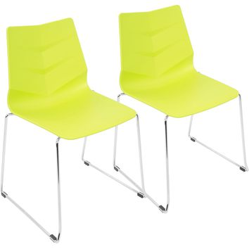 Arrow Contemporary Dining Chairs, Lime Green (Set of 2)